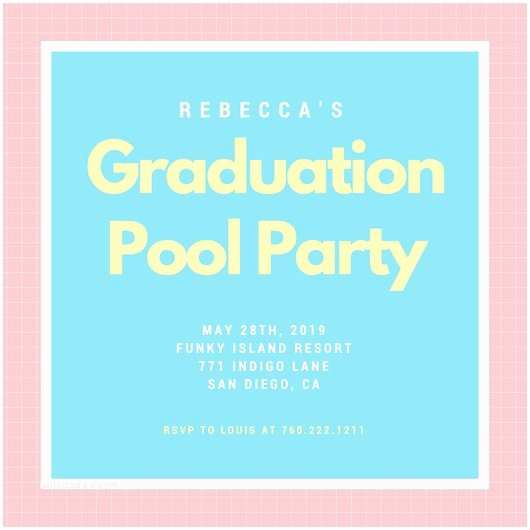 Graduation Pool Party Invitations Customize 3 998 Pool Party Invitation Templates Online