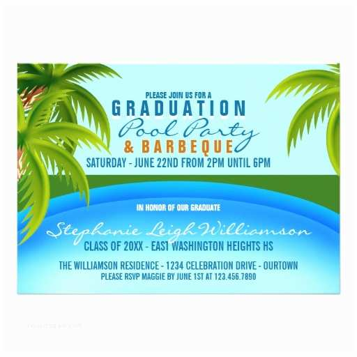 Graduation Pool Party Invitations Graduation Pool Party 5x7 Paper Invitation Card