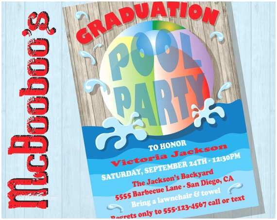Graduation Pool Party Invitations Items Similar to Rustic Graduation Pool Party Invitations