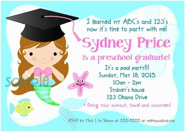 Graduation Pool Party Invitations Mermaid Graduation Preschool Kindergarten Elementary Pool