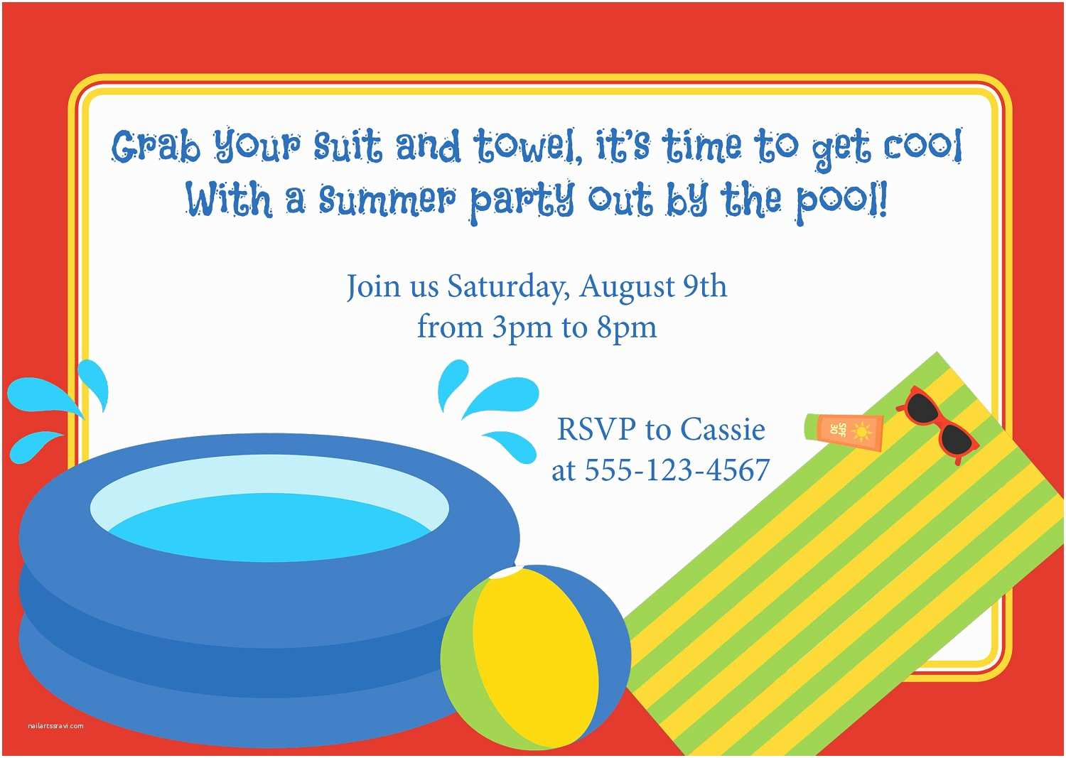 Graduation Pool Party Invitations Party Invitation Templates Pool Party Invitation Wording