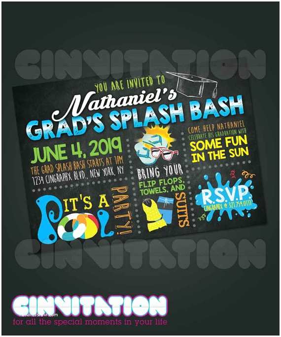 Graduation Pool Party Invitations Pool Party Graduation Invitation by Cinvitation On Etsy