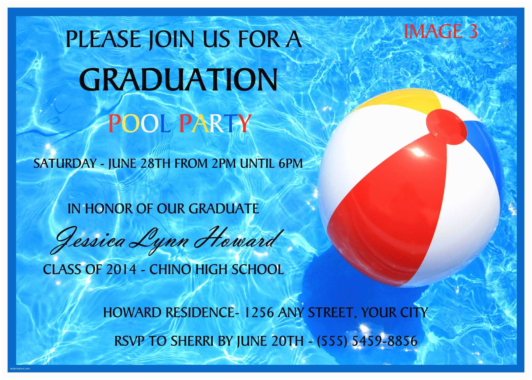 Graduation Pool Party Invitations Pool Party Graduation Invitation to order today