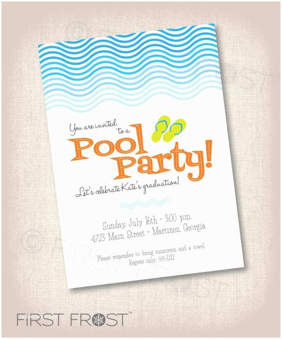 Graduation Pool Party Invitations Pool Party Printable Invitation Birthday Graduation