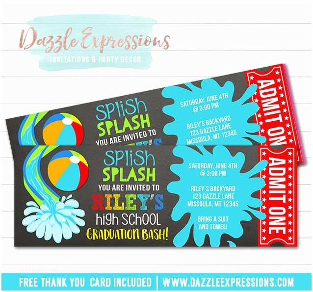 Graduation Pool Party Invitations Printable Pool Party Chalkboard Ticket Graduation