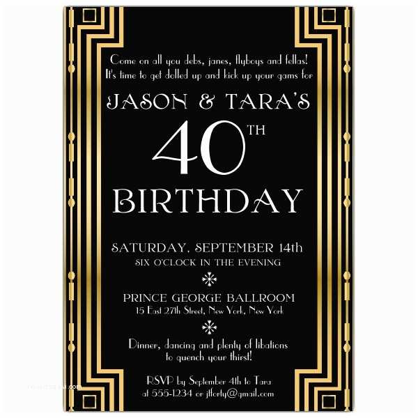 Great Gatsby Party Invitations Gatsby Gold Couples Birthday Invitations