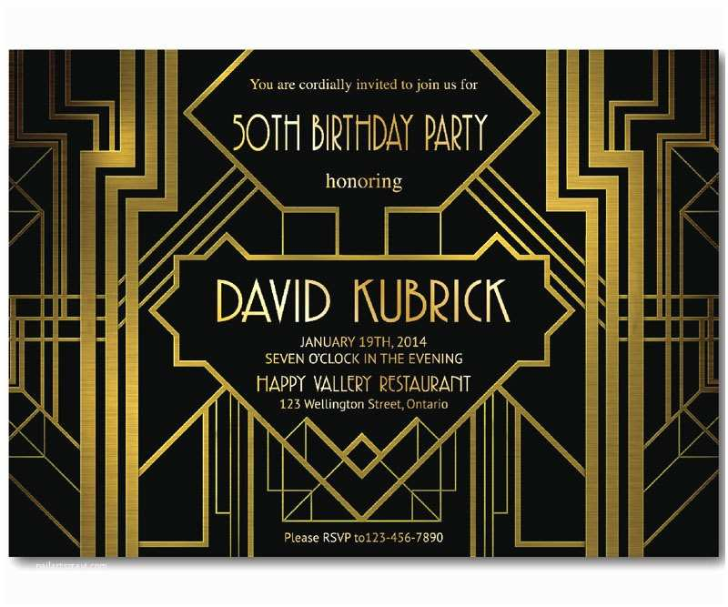Great Gatsby Party Invitations Great Gatsby Birthday Invitation 30th 40th 50th 60th 70th