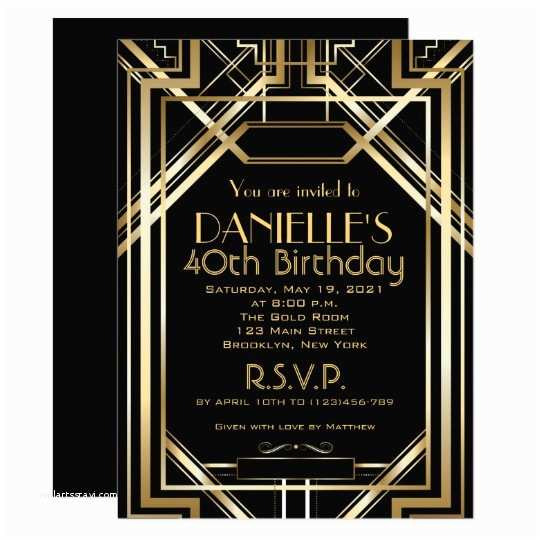 Great Gatsby Party Invitations Great Gatsby Inspired Art Deco Birthday Invitation