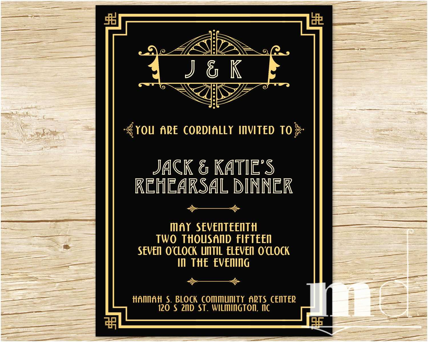 Great Gatsby Party Invitations Great Gatsby themed Party Invitations