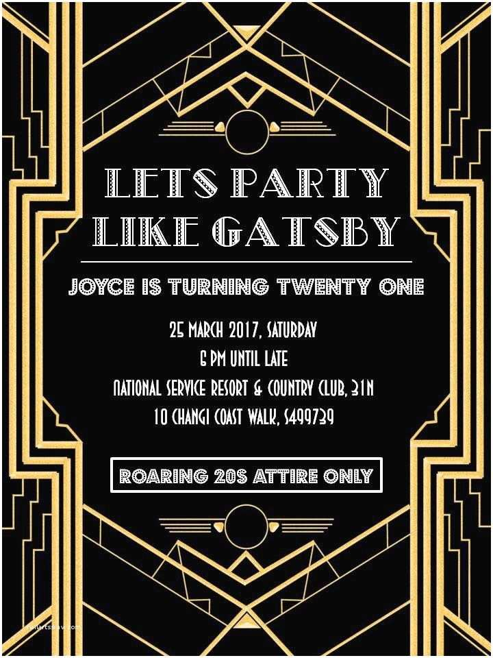 Great Gatsby Party Invitations Party Invitation Templates Great Gatsby Party Invitations