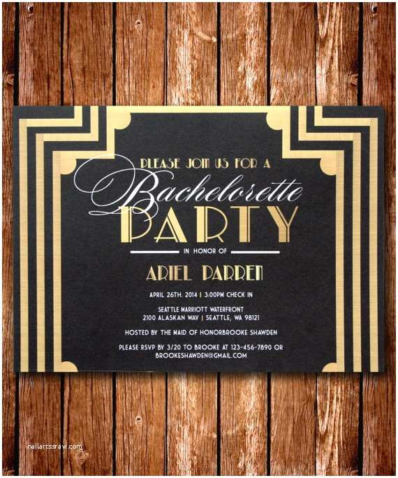 Great Gatsby Party Invitations Printable Great Gatsby Bachelorette Invitation by