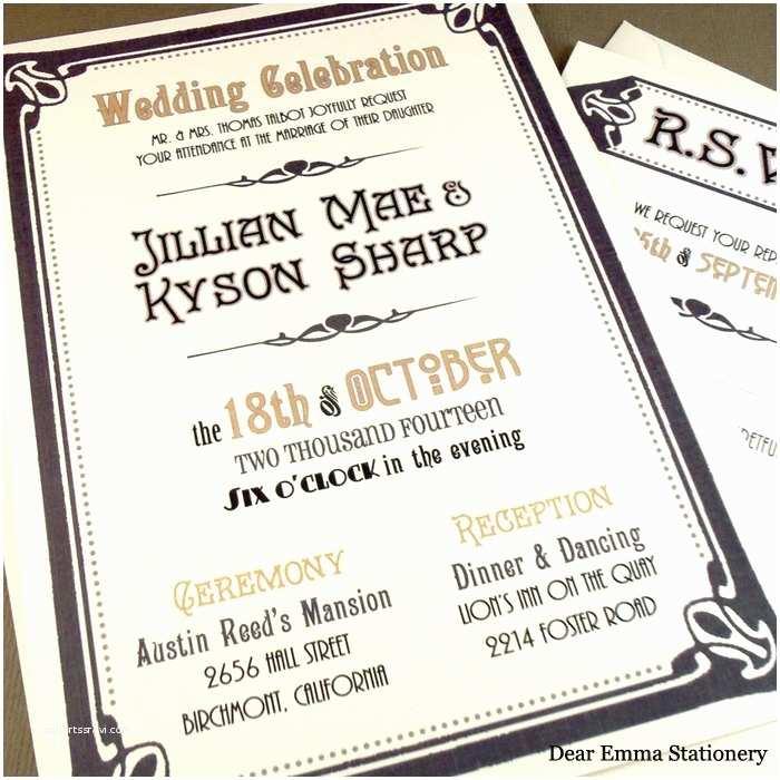 Great Gatsby Wedding Invitations Art Deco Wedding Invitations and Response Card Set – Great
