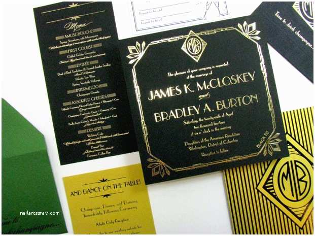 Great Gatsby Wedding Invitations Great Gatsby Art Deco Wedding Invitations