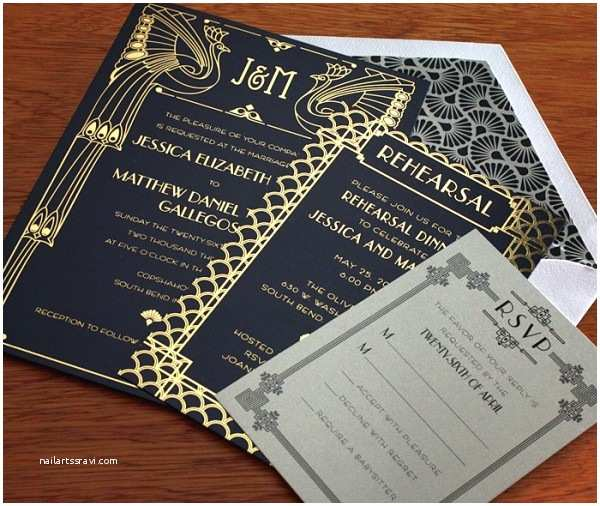 great gatsbyinspired wedding invite