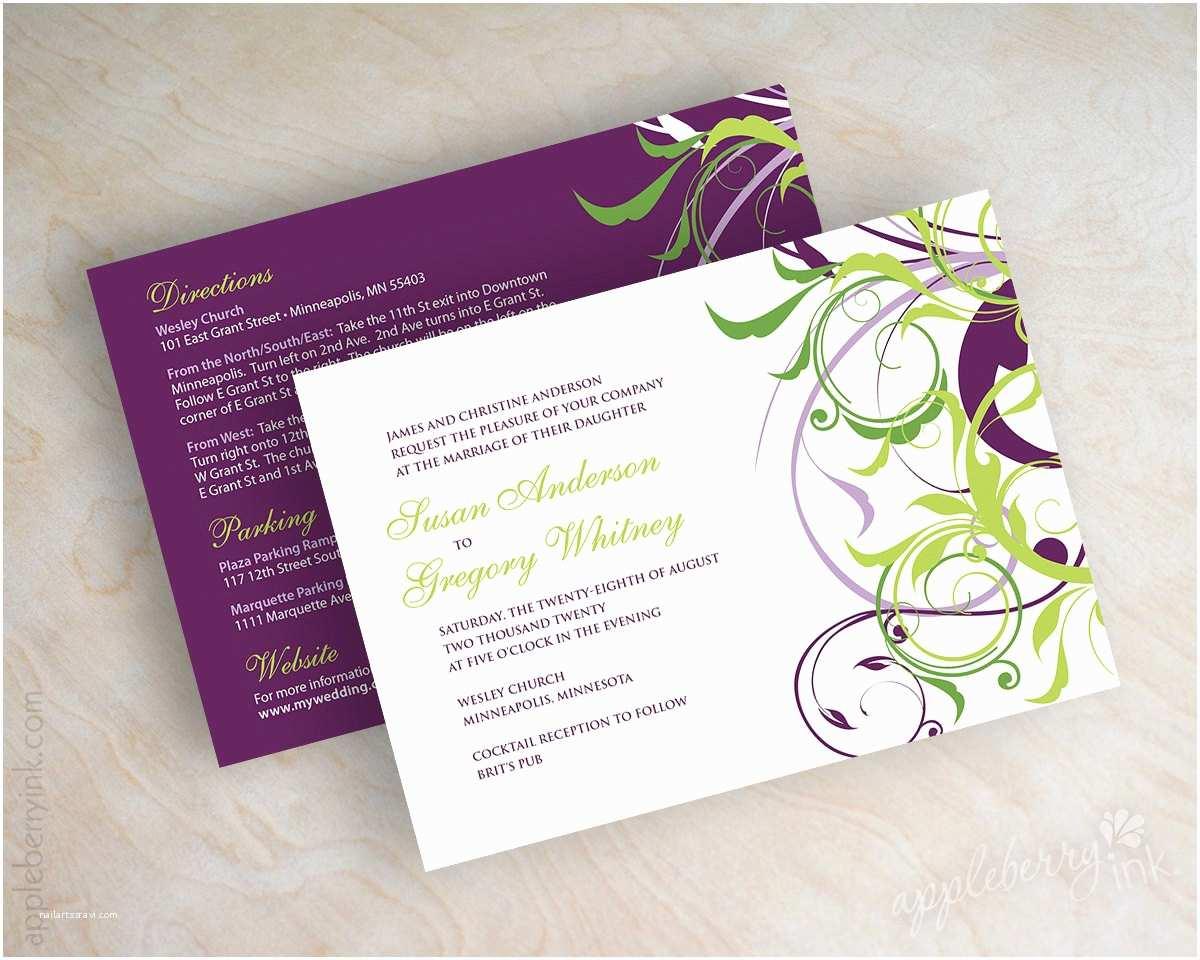Green Wedding Invitations Awe Inspiring Purple and Green Wedding Invitations You Can