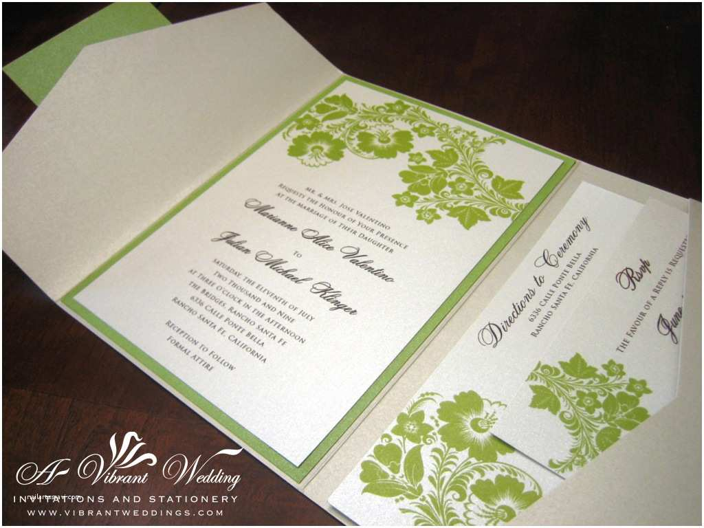 Green Wedding Invitations Green and Ivory Wedding Invitation – A Vibrant Wedding