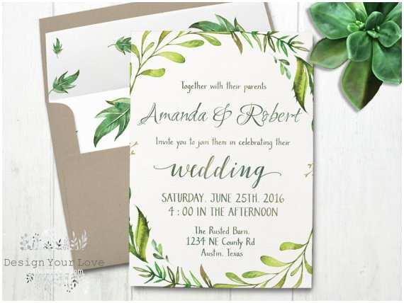 Green Wedding Invitations Printable Greenery Wedding Invitation Printable Green Wedding
