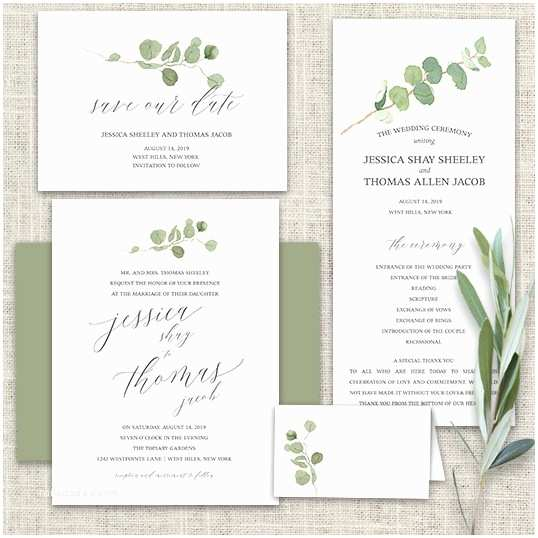 Greenery Wedding Invitations Calligraphy Wedding Invitations Greenery Eucalyptus Garland