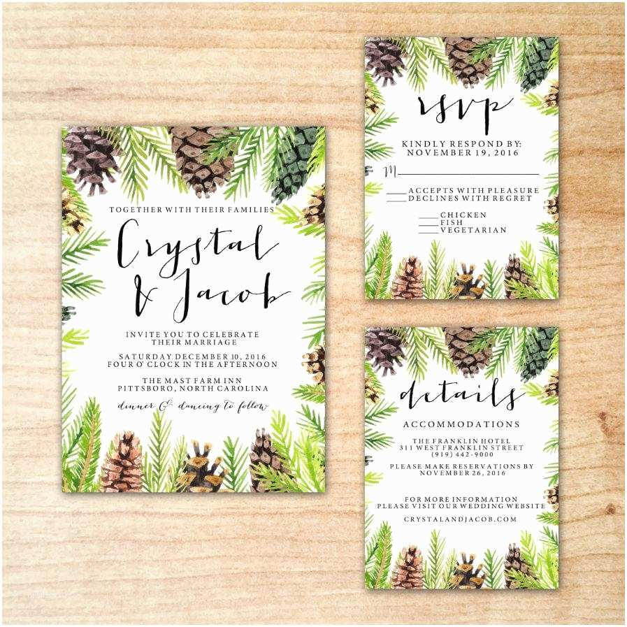 Greenery Wedding Invitations Christmas Winter Pine Cone Greenery Wedding Invitation