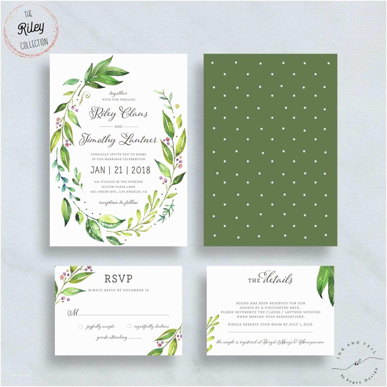 Greenery Wedding Invitations Foliage Wedding Invitation Greenery Leafy Garden