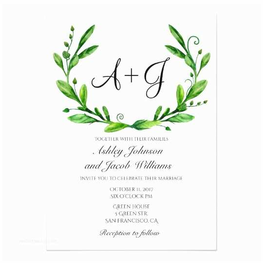 Greenery Wedding Invitations Green Wedding Invitation Summer Invites Greenery Card