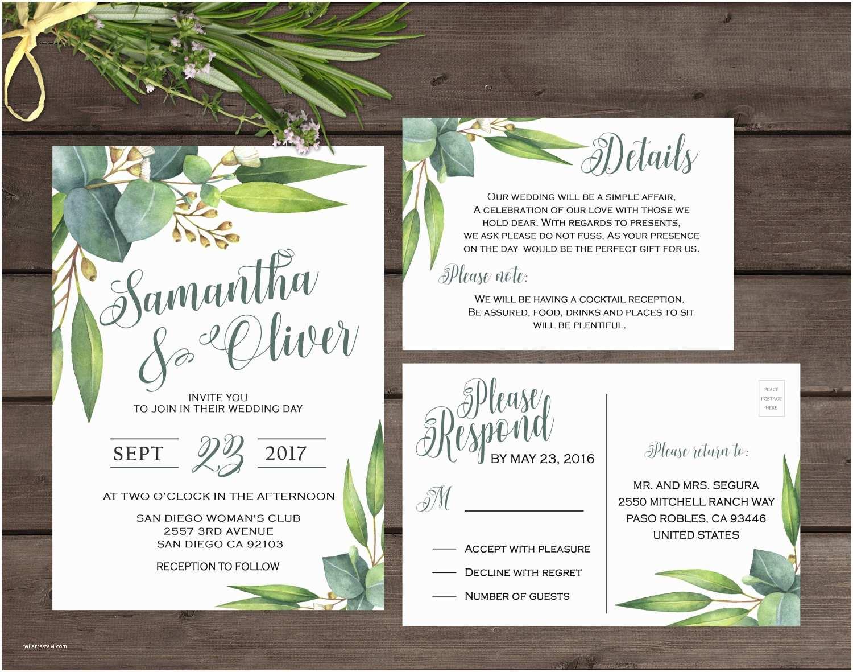 Greenery Wedding Invitations Greenery Wedding Invitation Eucalyptus Wedding Invitation
