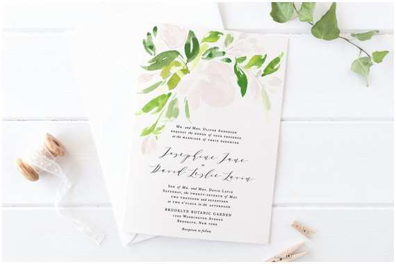 greenery wedding invitation setprintable