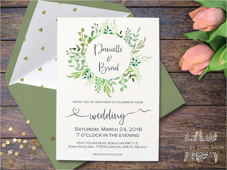 Greenery Wedding Invitations Printable Green Wedding Invitation Greenery Wedding
