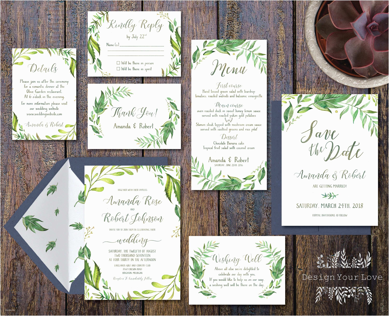 Greenery Wedding Invitations Printable Greenery Wedding Invitation Suite Green Wedding
