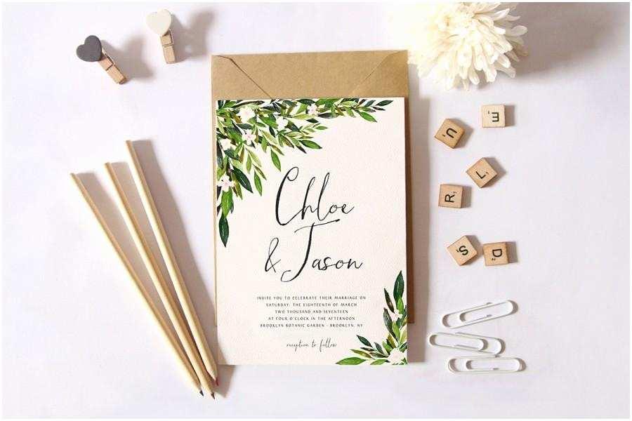 Greenery Wedding Invitations Printable Wedding Invitation Set Simple Wedding Invitation
