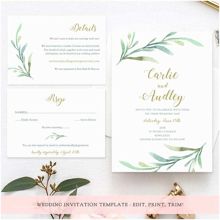 Greenery Wedding Invitations Sweet Bomb Printable Wedding order Of Service Template