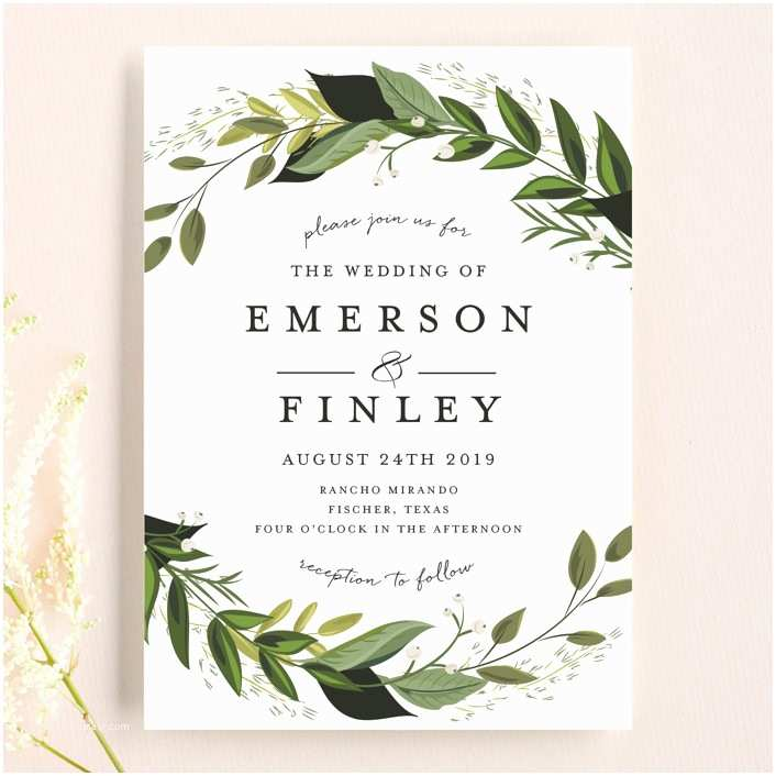 Greenery Wedding Invitations Vines Of Green Wedding Invitations by Susan Moyal