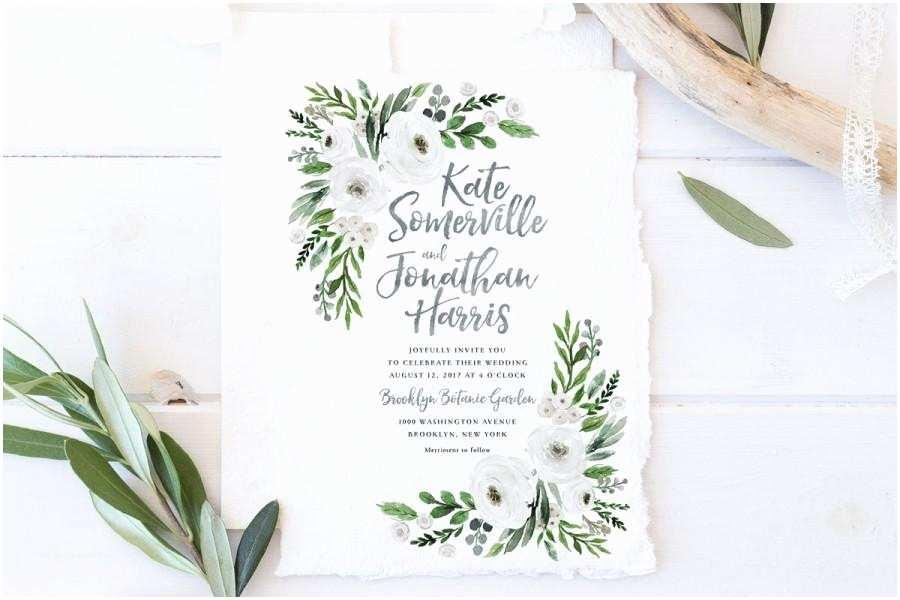 Greenery Wedding Invitations Wedding Invitation Set Printable Spring Summer Wedding