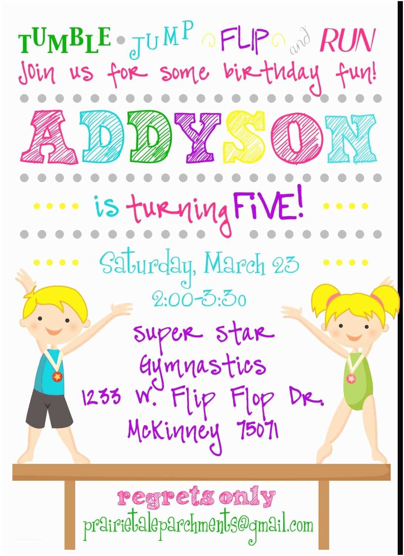 Gymnastics Birthday Invitations Flip Flop Gymnastics Party Invitation by Prairietaledesigns