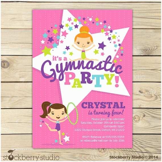 Gymnastics Birthday Invitations Gymnastics Birthday Invitation Printable Gymnastics