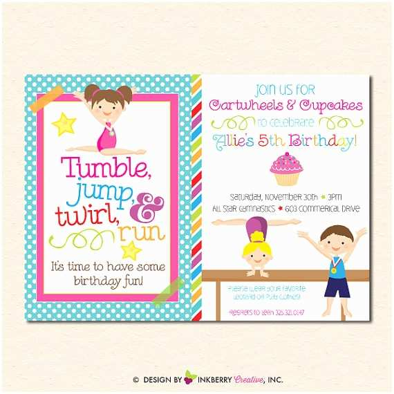 Gymnastics Birthday Invitations Gymnastics Birthday Party Invitation Boy Girl Version