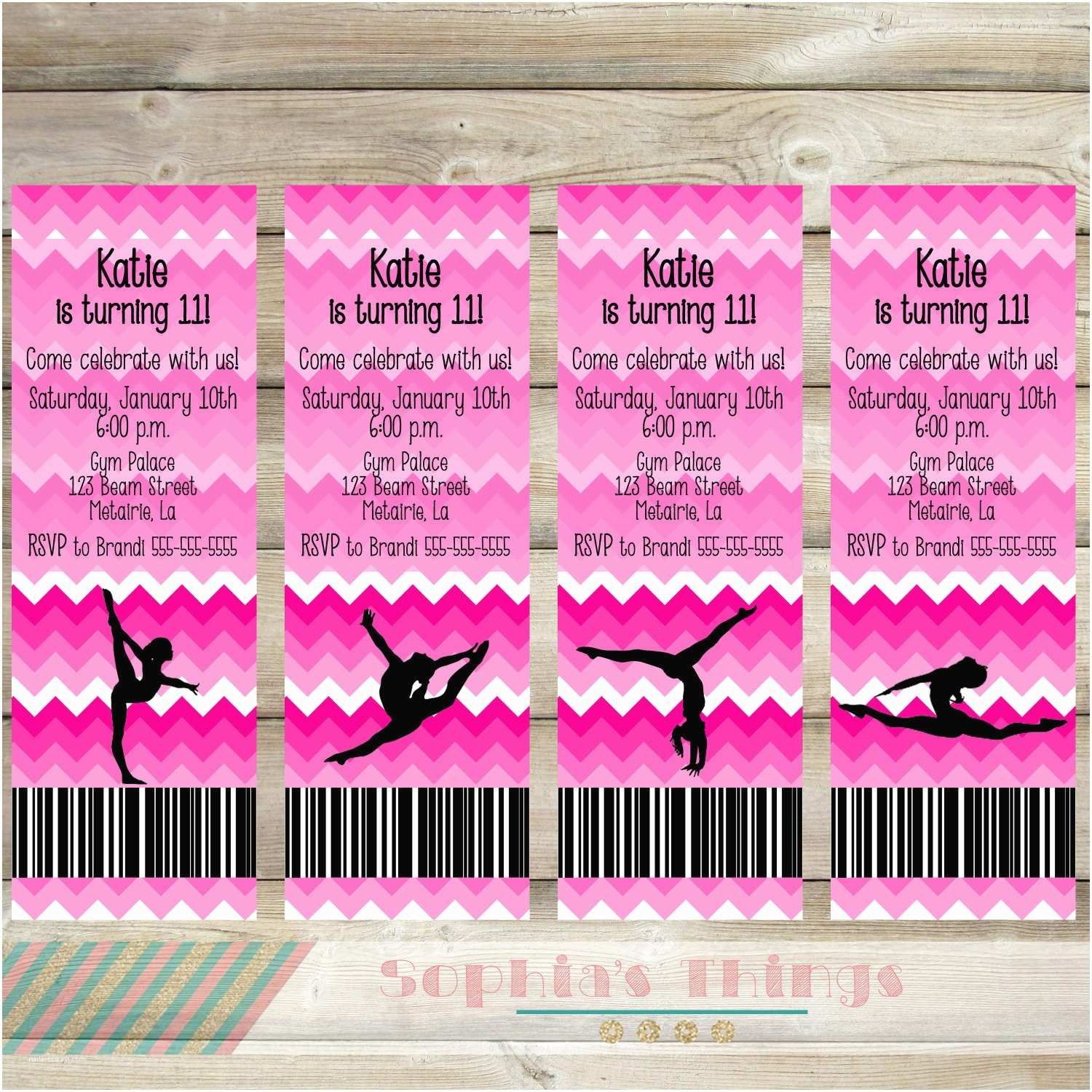 Gymnastics Birthday Invitations Gymnastics Birthday Party Printable Gymnastics Invitation