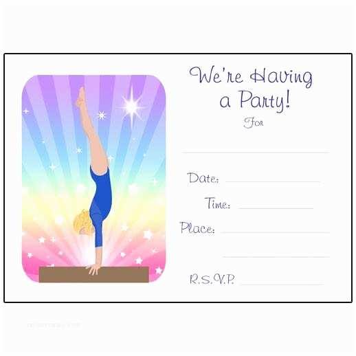 Gymnastics Birthday Invitations Gymnastics Dreams Fill In the Blank Birthday Party