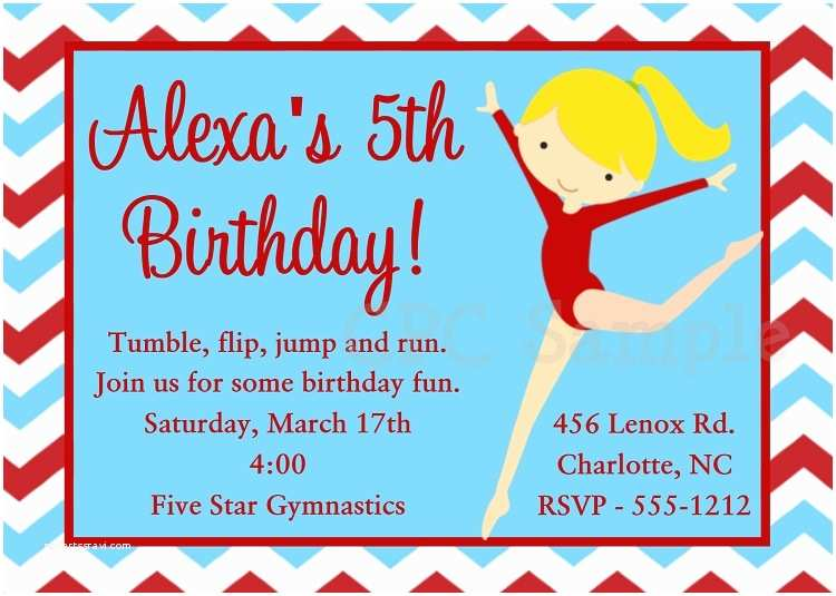 Gymnastics Birthday Invitations Gymnastics Party Invitations