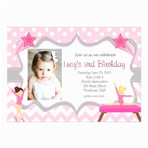 "Gymnastics Birthday Invitations Pink Gymnastics Party Birthday Invitation 5"" X 7"