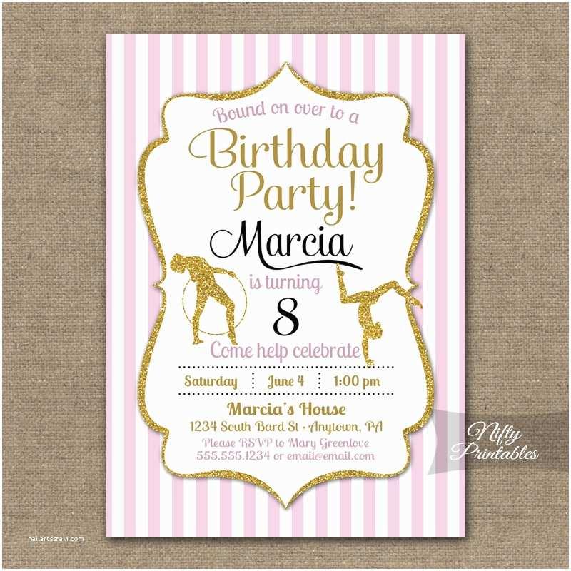 Gymnastics Birthday Party Invitations Nifty Printables