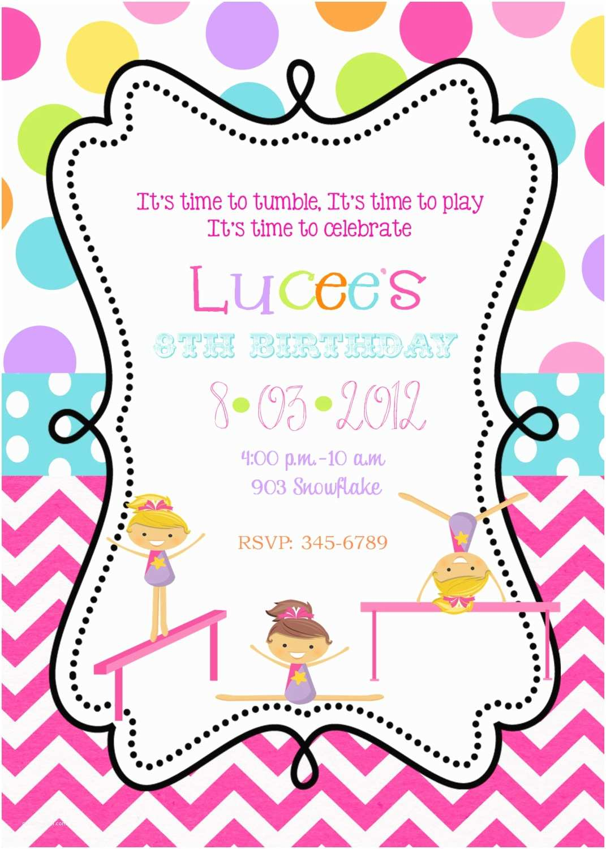 Gymnastics Birthday Party Invitations Gymnastics Birthday Party Invitations Printable or by