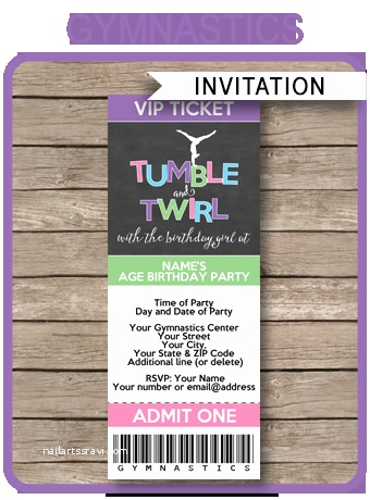 gymnastics party ticket invitations printable
