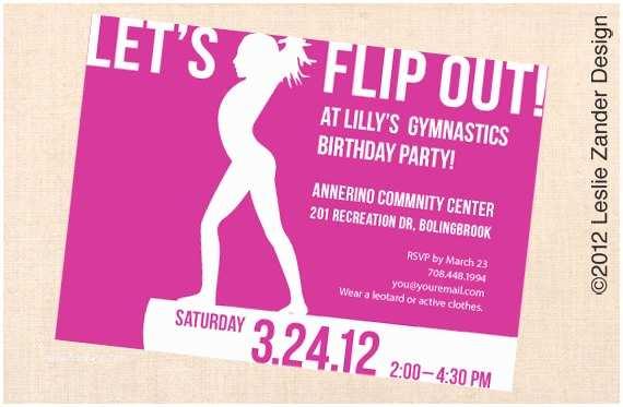 Gymnastics Birthday Party Invitations Gymnastics Personalized Printable Birthday Party Invitation
