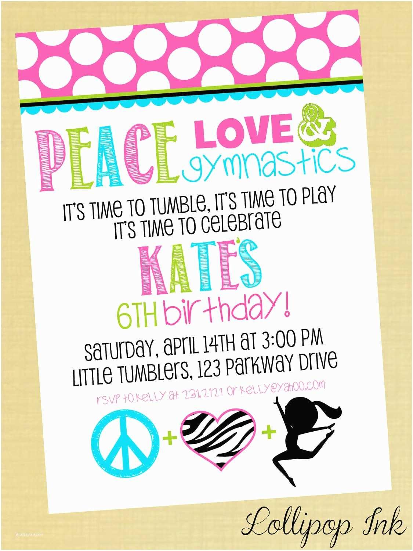 Gymnastics Birthday Party Invitations Printable Invitation Peace Love By