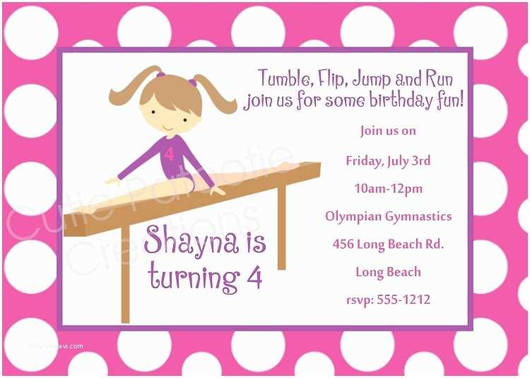 Gymnastics Party Invitations 7 Best Of Gymnastic Birthday Printable