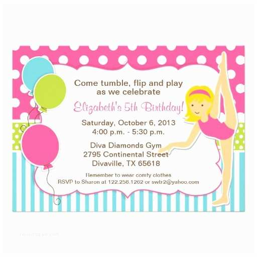 Gymnastics Party Invitations Gymnastic Blonde Girl Birthday Party 5x7 Paper Invitation
