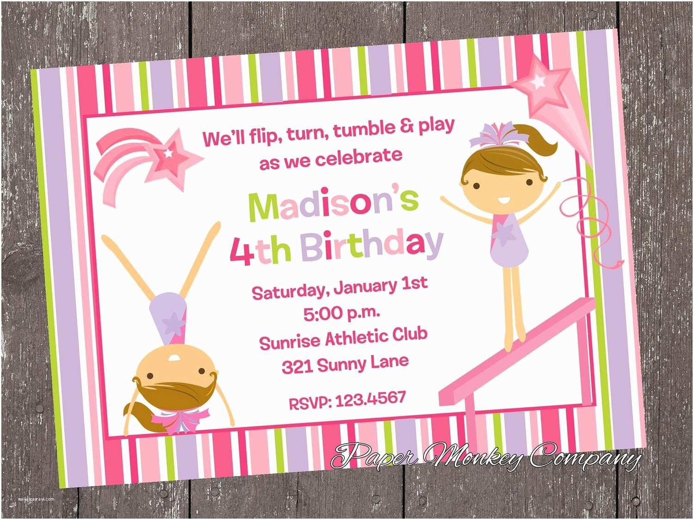 Gymnastics Party Invitations Gymnastics Birthday Invitations