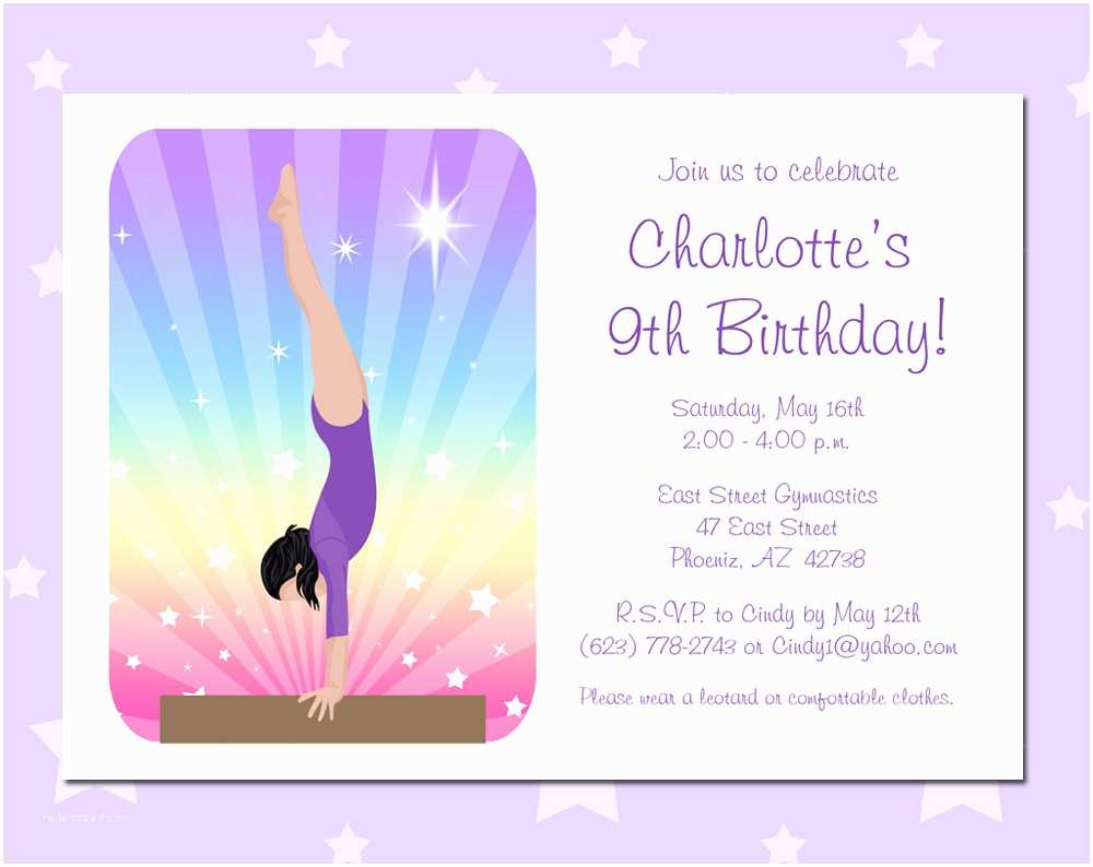 Gymnastics Party Invitations Gymnastics Birthday Party Invitations Pack Of 10 Beam