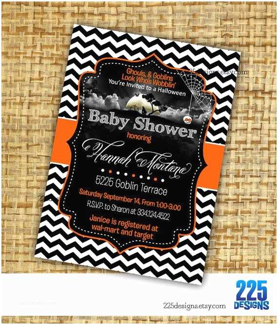 Halloween Baby Shower Invitations Halloween Baby Shower Invitation Chevron Boy Girl